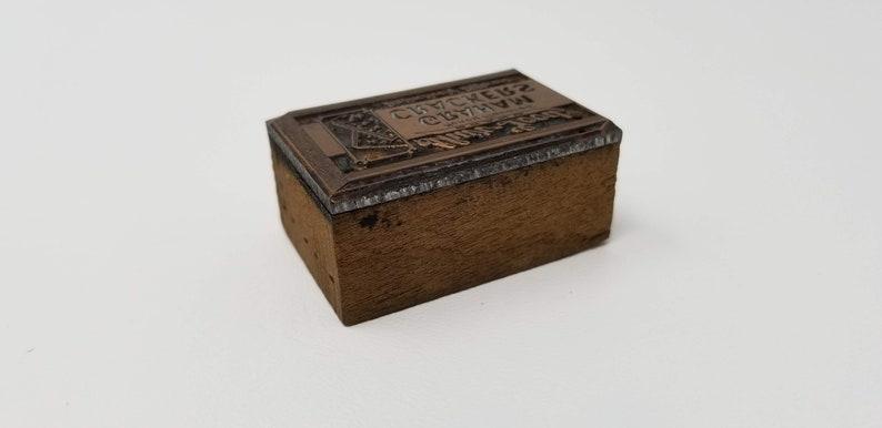 Vintage Wood Letterpress Printing Block Shur Good Biscuit Company Graham Crackers Advertising Stamp