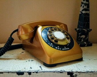 Metallic Gold Rotary Desk Monophone Telephone Automated Electric