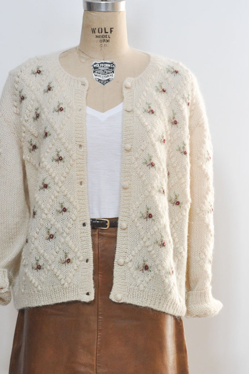 7ccff357362 Field of Laurel Cable Knit Cardigan Sweater w detailed Rosette Embroidery