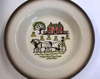 Vintage Metlox Poppytrail Colonial Heritage Rimmed Soup Bowl