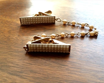 Vintage Gold and Pearl Sweater Clips