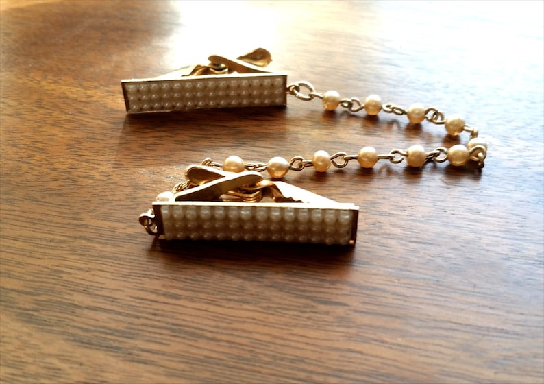 Vintage Gold and Pearl Sweater Clips image 0