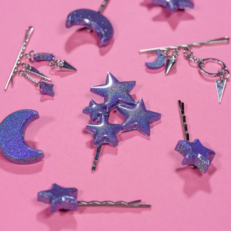 Holographic Star /& Moon Hair Pin Set Pink or Lilac