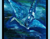 Blue Crane Acrylic Painting