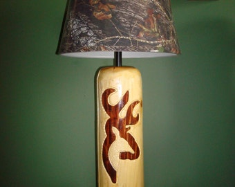 Hand carved pair deer log Lamps