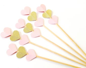 Wedding and Party Supplies set of 25 Gold Glitter Heart Skewers