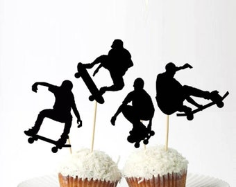 Set of 24Pcs - Skateboarder Cupcake Toppers 3e94eaafa26