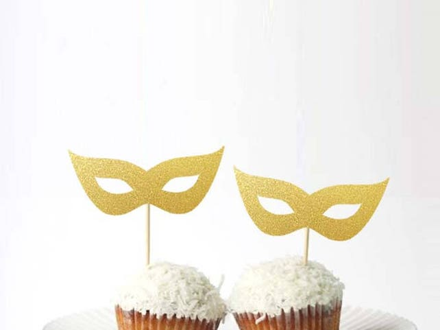 Set of 24Pcs Gold Glitter Masquerade Mask Cupcake Toppers | Etsy
