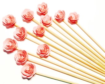 "Set of 24Pcs - Blush 3D 'ROSE ' on 6"" OR 8"" Skewer or Stir Stick - Birthday, Baby Showers, Weddings, Drinks/ Fruits/ Food Skewers"