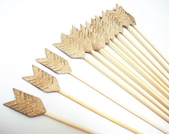 Set of 24Pcs - Double Sided Gold Glitter Arrow on 8inch Stir Stick OR Skewer - Birthday, Baby Showers, Weddings, Drink, Party Stir Stick