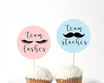 Set of 24Pcs - Team Staches or Team Lashes Cupcake Toppers, Baby shower, Gender Reveal Decor boy or Girl, Pink or Blue
