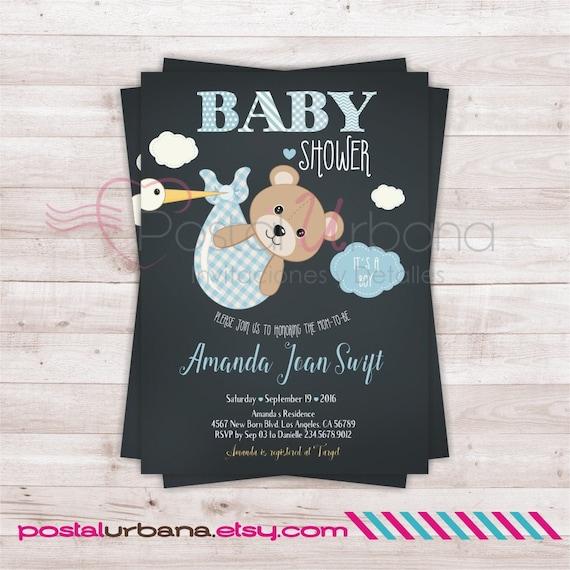 Invitacion Osito Invitacion Baby Shower Osito Invitacion Etsy