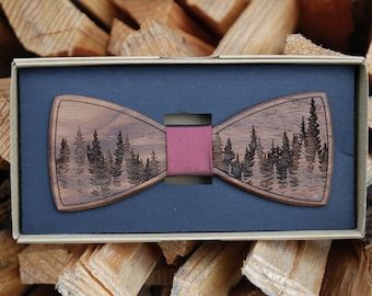 Wooden Bow Tie - Forest
