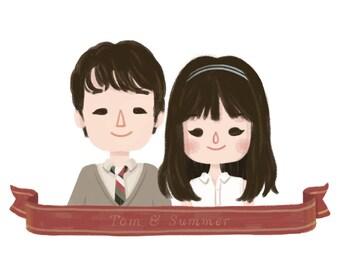 Custom Illustrated Couple Portrait | Personalized Couple Illustration | Valentine's Gift | Birthday | Anniversary | Digital Printable File