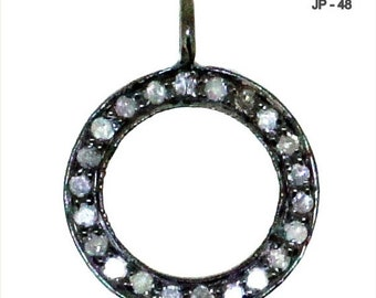13 mm Pave Diamond Round Shape Charm , Silver Oxidized Pendant