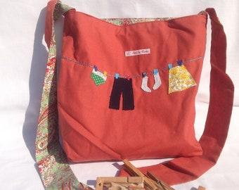 Shoulder Peg bag / clothespin bag / wash day bag, fully lined - appliqué Wedding gift, house warming gift