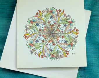 Feathers and Frond Mandala Card