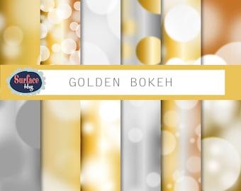 Bokeh digital paper GOLD BOKEH Gold backgrounds, Bokeh effect, Bokeh background in Gold and silver Bokeh, Digital gold paper, printable.