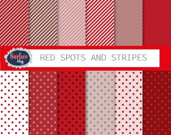 Red digital paper RED POLKA DOT and stripes, red background, red digital, red polka dot, red spot paper Red printable paper, commercial free