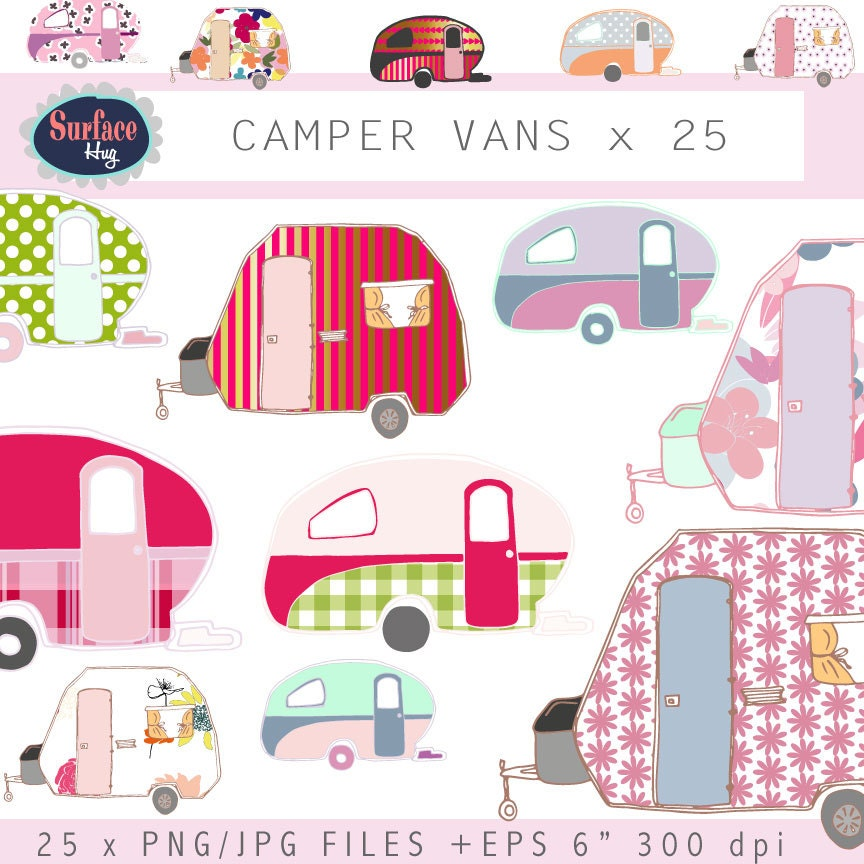 Campervan clip art CAMPER VANS Retro clip art Retro ...