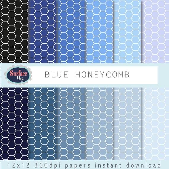 Digitalem Papier blau Waben Sechseck blauem Hintergrund