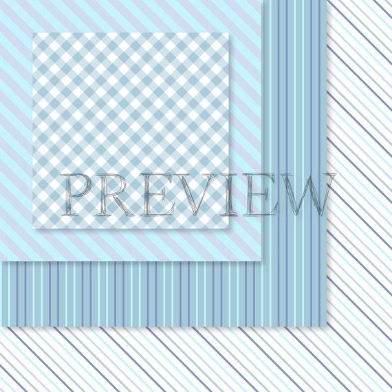 Digital paper BLUE POLKA DOT background pattern.White polka dot Blue gingham digital blue stripe Light blue printable paper Gingham pattern