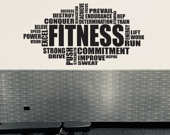 GYM WALL Decal, Inspirational Wall Decal, Fitness Wall Decal, Gym Wall Art Decal, FITNESS Word Cloud Typography Design