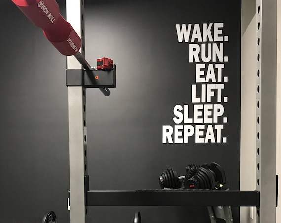 Gym Ideas, Gym Remodel, Wake. Run. Lift. Eat. Sleep. Repeat. Wall Sticker