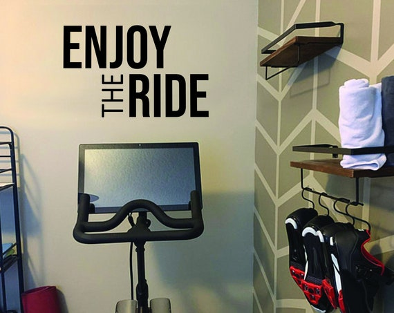 ENJOY THE RIDE Fitness Wall Decal, Gym Design Idea, Cycle Room Decor, Biking Decor, Ideas for Bike Room.