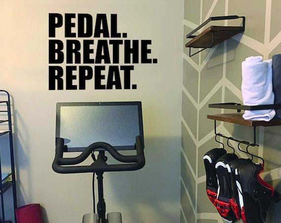 PEDAL. BREATHE. REPEAT. Fitness Wall Decal, Gym Design Idea, Cycle Room Decor, Biking Decor, Ideas for Bike Room.