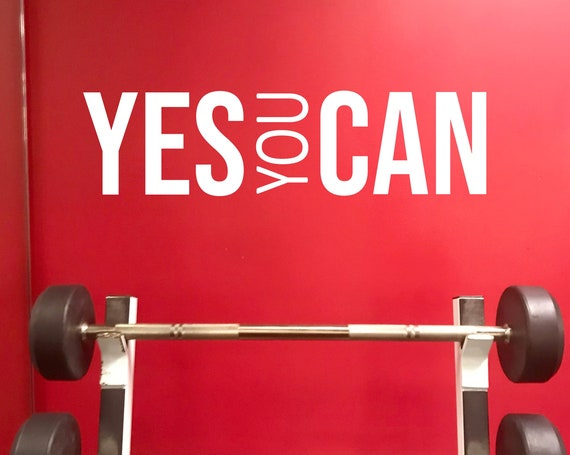 YES YOU CAN Wall Decal. Gym Decor Ideas, Gym Design Ideas, Ideas for Home Gym, Office Wall Sign. Inspirational Sport Quote. Classroom Decor