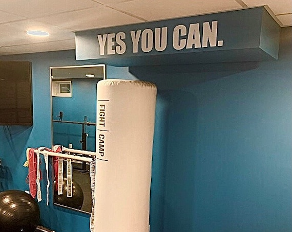 Gym Wall Decal, Home Gym Ideas, Fitness Wall Decal, Classroom Decor Ideas, YES YOU CAN. Wall Decal.