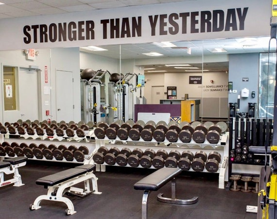Gym Design Ideas, Fitness Design Ideas, Gym Wall Ideas, Gym Wall Decal, STRONGER THAN YESTERDAY