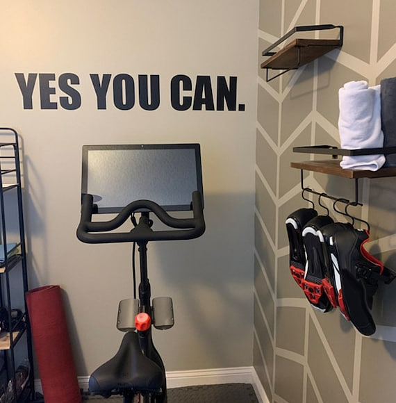 Cycling Studio Decor, Home Cycling Room Ideas, Home Gym Design Ideas, YES YOU CAN gym wall decal. Wall Decor for Home Gym.