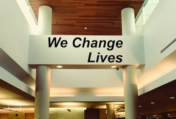 We Change Lives, Motivational Quote Sticker, Gym Wall Decal, Physical Therapy Wall Decor, Rehab Wall Decal, Fitness Wall Decal