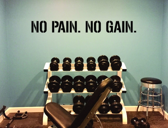 NO PAIN. No GAIN. Gym Wall Decal Idea, Gym Quote Decor, Fitness Decor, Home Gym Design Idea, Fitness Wall Decal, Cycling Decal Decor