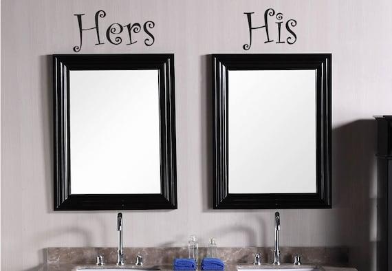 "His and Hers Vinyl Decal Wall Art Sticker. 4""x8"" Bathroom, Closet, Bedroom, towel rack,28"