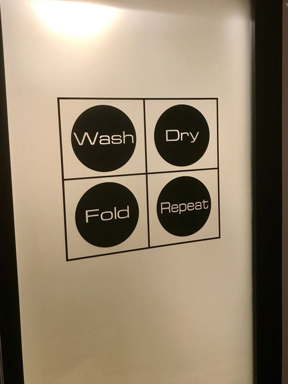 Laundry Room Decor, Laundry Room Wall Decal, Wash Dry Fold Repeat