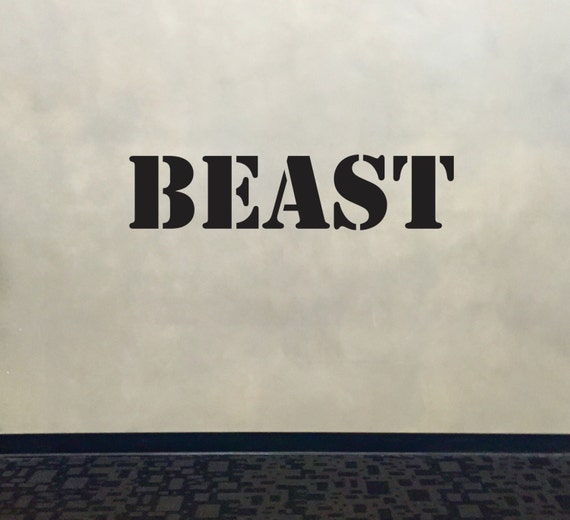 Wall Decal for Gym, Fitness Wall Decal, Classroom Wall decor, BEAST Stencil Font Gym Wall Decal