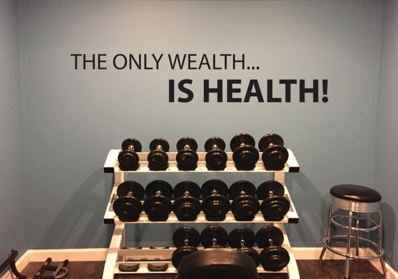 Health Quote Wall Decal, The Only Wealth... IS HEALTH Gym Wall Decal