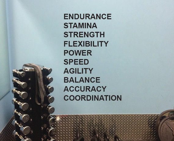 Gym Design, Fitness Words Wall Decal.