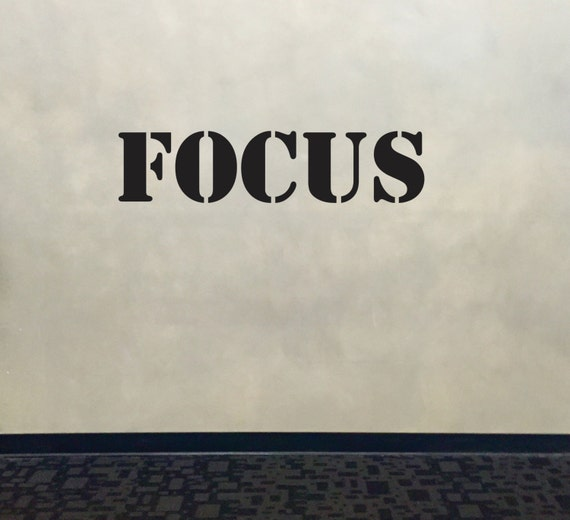 Wall Decal for Gym, Fitness Wall Decal, Classroom Wall decor, FOCUS Stencil Font Gym Wall Decal