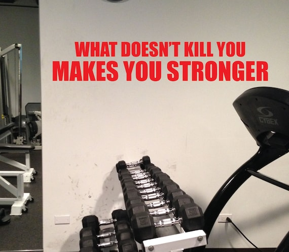 """Motivational Fitness Quote, What Doesn't Kill You Makes You Stronger, Work Out Quote Decal Sticker, 6""""x32"""", item#79"""
