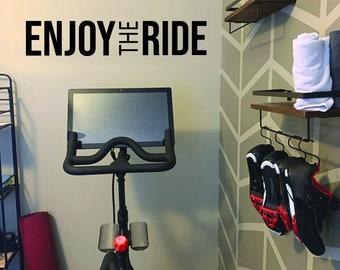 Cycling Studio Decor, Home Cycling Room Ideas, Home Gym Design Ideas, ENJOY THE RIDE gym wall decal. Wall Decor for Home Gym.