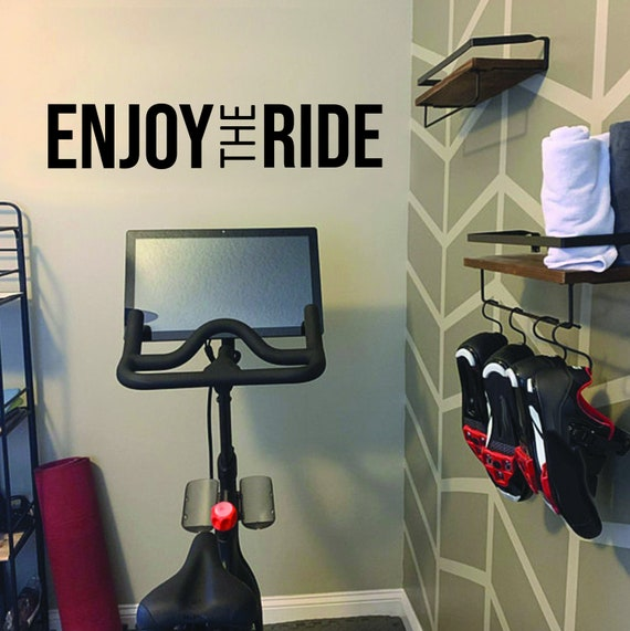 Cycling Studio Decor, Home Cycling Room Ideas, Home Gym Design Ideas, ENJOY THE RIDE gym wall decal. Wall Decor for Home Gym.