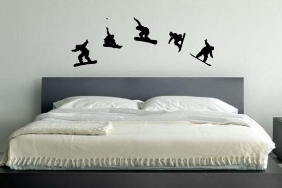 Snowboard Themed Room Decor, Vinyl Decal Wall Art, Kids room, 54