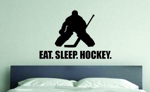 Hockey Wall Decal, Hockey Theme Room Ideas, Room Decor Idea, EAT. SLEEP. HOCKEY.