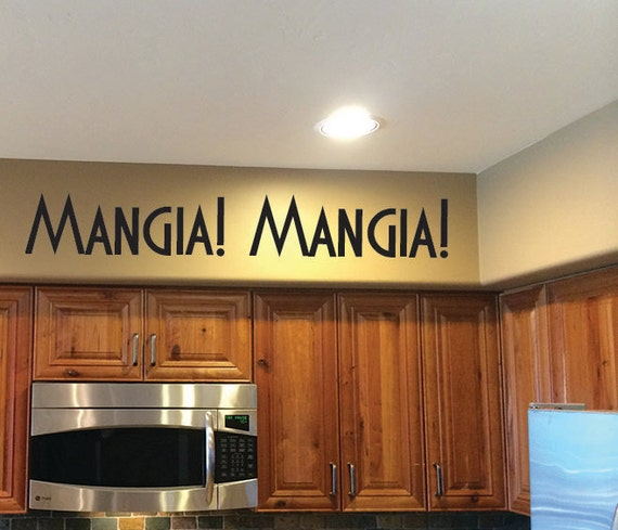 Italian Kitchen Decor. Mangia! Mangia! Vinyl Wall decal