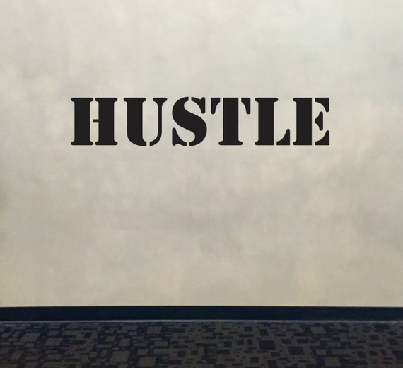 Fitness Wall Decal, Classroom Wall decor, HUSTLE Stencil Font Gym Wall Decal