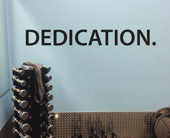 Fitness Studio Wall Decor, DEDICATION. Wall Decal